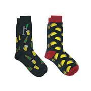 360 Threads Beer Mugs Bottles Fun Dress Socks & Taco Food Socks 2-Pair (Men's)