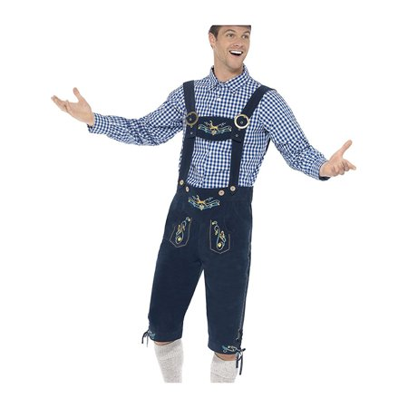 Mens Barbarian Costume (Adult's Mens Deluxe Traditional Oktoberfest Rutger Bavarian Lederhosen)