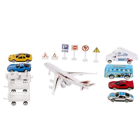 Juvale Airport Playset - 16-Piece Airport Terminal Kids Toy Planes, Play Vehicles, Best Gift for