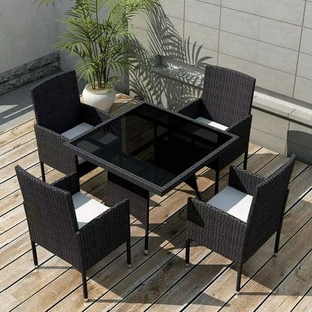 vidaXL Outdoor Dining Set Poly Rattan Wicker Black Garden Seater 4 Chair