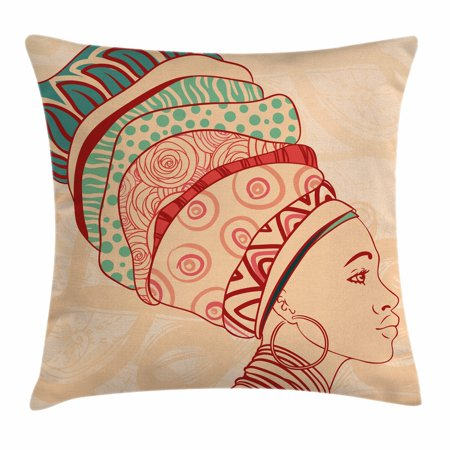 African Woman Throw Pillow Cushion Cover, Local Female Portrait with Necklace Earring and Ethnic Turban Ornaments, Decorative Square Accent Pillow Case, 18 X 18 Inches, Peach Red Teal, by Ambesonne