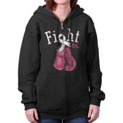 Fight For A Cure Pray For A Cure Breast Cancer Awareness Zipper Hoodie