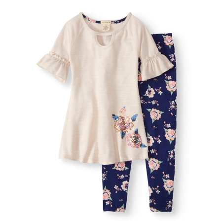 Floral Outfit Girl - Ruffle Sleeve Sweater Knit Tunic & Floral Legging, 2-Piece Outfit Set (Little Girls & Big Girls)