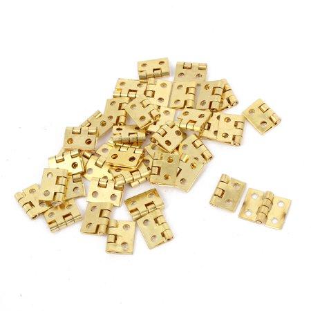 8mm Long Gold Tone Rotary Gate Door Cabinet Hinges 40 Pcs w Screws