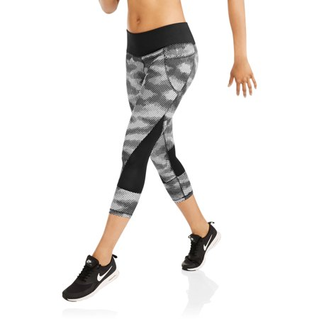 Danskin Now Women's Active Allover Print Performance Capri with Mesh Inserts