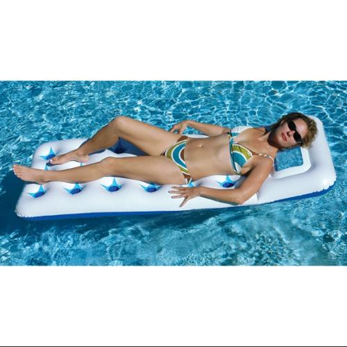 """75"""" Blue and White 18-Pocket Fashion Inflatable Swimming Pool Lounger Mattress Float with Window"""