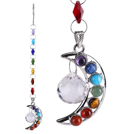 Unicorn Suncatcher - Crystal Pendant, Knifun Half-Moon Chakra Suncatcher Crystal Prisms Rainbow Ball Pendulum Pendants Hanging Decor Home Wedding Ornament