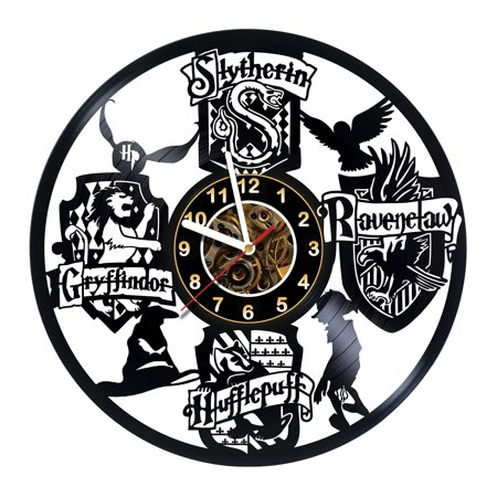 Harry Potter Merchandise - Vinyl Record Wall Clock - Hogwarts Poster - Room wall decor - Gift ideas for boys and girls, teens, friends  Unique Art Design - Harry Potter Poster - Party Favors Stuff ()