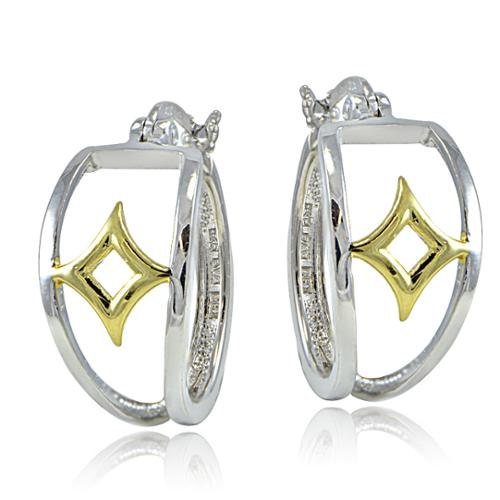 Mondevio  Sterling Silver Two-Tone Graphic Etched Hoop Earrings