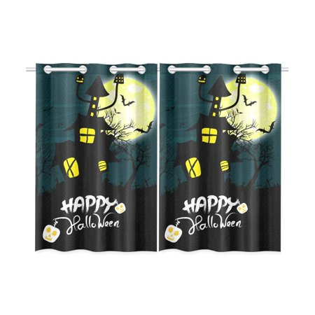 Blackout Halloween Nyc Reviews (MKHERT Happy Halloween Blackout Window Curtain Kitchen Curtain 26x39 inch, 2)
