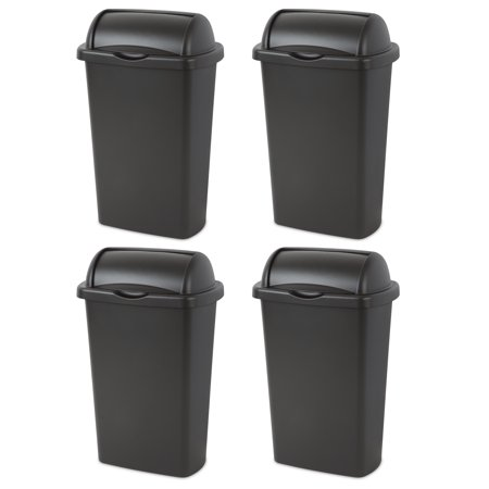 Sterilite, 13 Gal./49 L Roll Top Wastebasket, Black, Case of 4