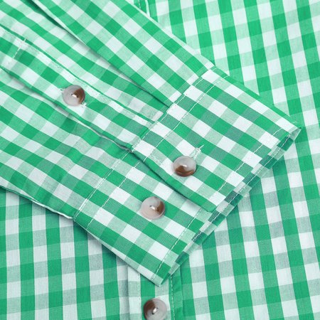 Men's Oktoberfest Costumes Long Sleeve Shirt Fashion Plaid Front Pocket Classical Shirt Tops Color:Green Size:S - image 7 of 8