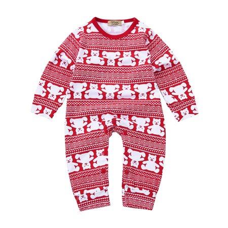 Mosunx Infant Kid Baby Toddler Christmas Bear Boys Girls Clothes Romper Jumpsuit (Bear Jumpsuit)