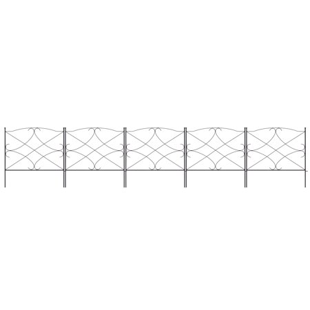 Best Choice Products 10-foot x 24-inch 5-Panel Iron Foldable Interlocking Garden Edging Fence Panels for Lawn, Backyard, Landscaping with Locking Hooks, Black ()