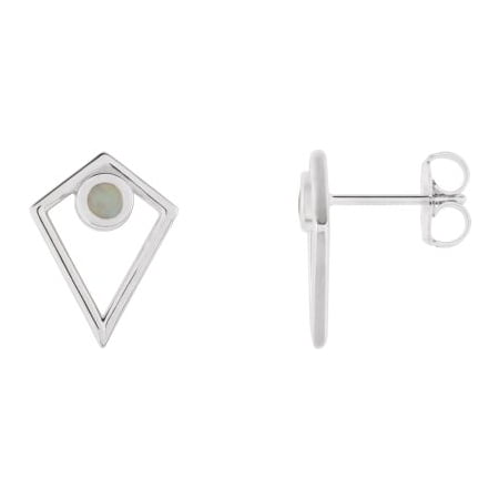 14K White Gold Opal Cabochon Pyramid Earrings Gemstone Fashion Finished (Pair) Cabochon Designer Earrings