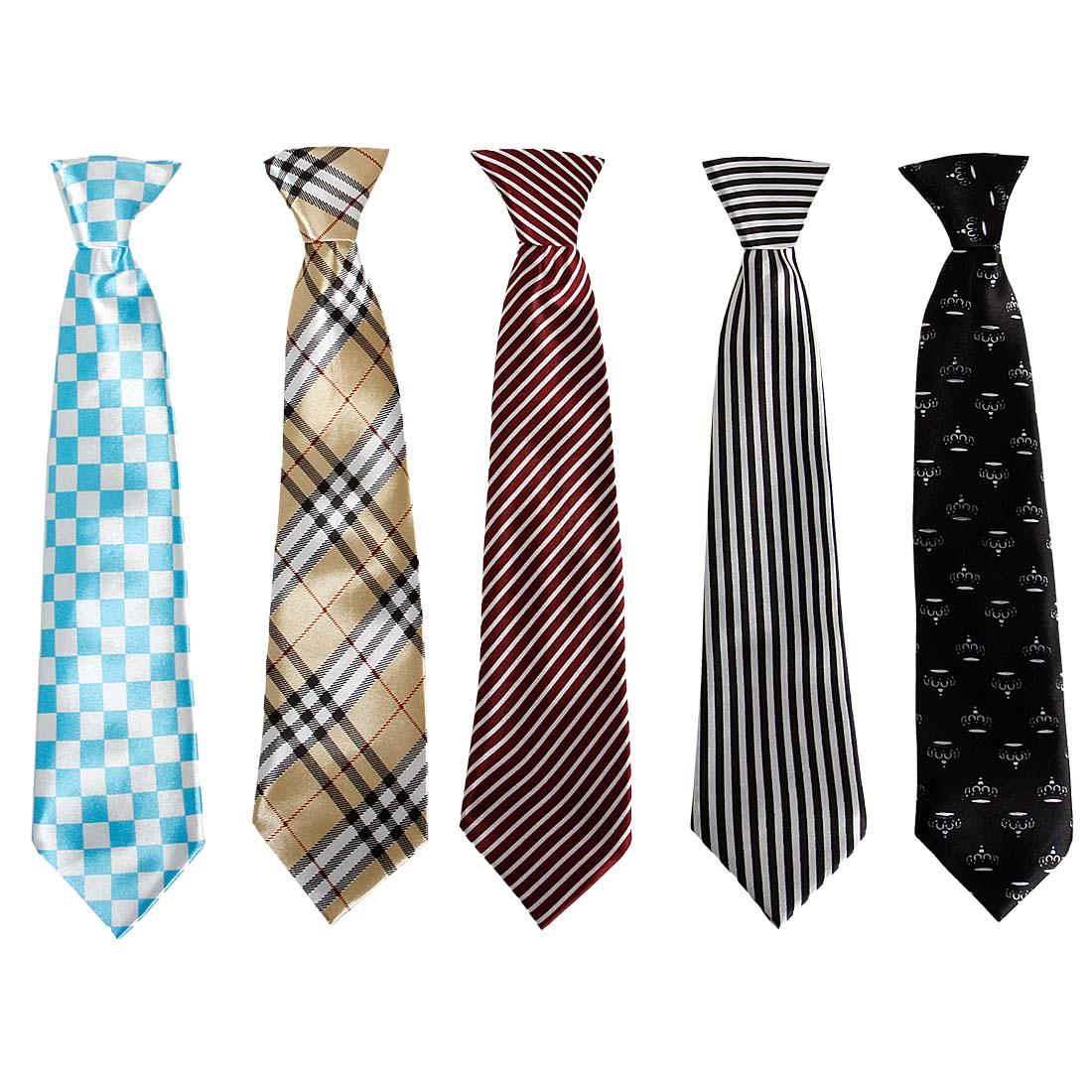 Bundle Monster 5pc Mix Design Boys Formal Wear Pre-Tied Polyester Necktie Set
