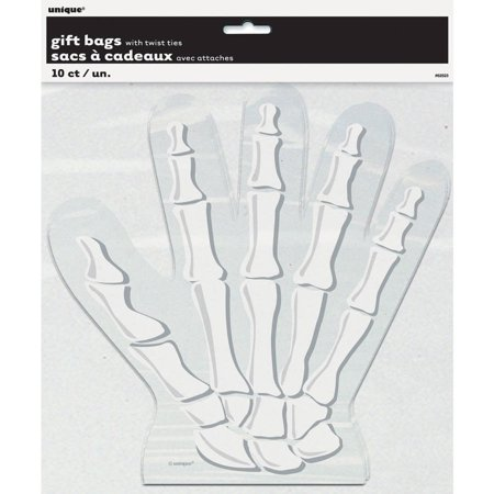 Halloween Bag Crafts - Skeleton Hand Shaped Halloween Cellophane Bags, 10-Count