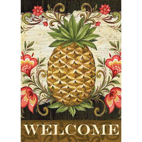 Toland Home Garden Pineapple and Scrolls 2-Sided Garden Flag