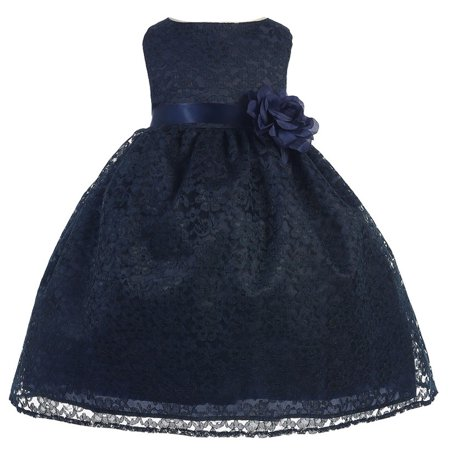 Baby Girls Navy Floral Lace T-Length Flower Girl Dress 6-24M](Flower Girl Dress Navy)