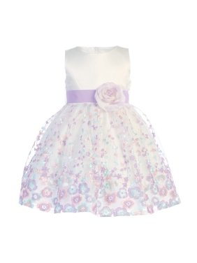 c54e8dc4828 Product Image Baby Girls Ivory Lilac Satin Embroidered Organza Flower Girl  Dress 6-12M