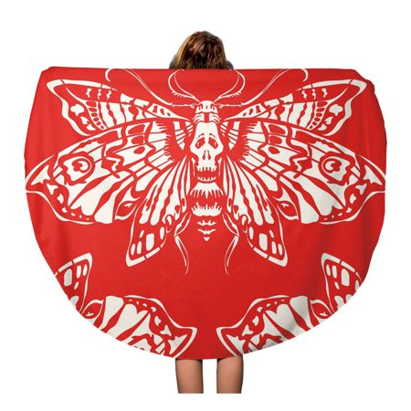POGLIP 60 inch Round Beach Towel Blanket Dead Head Butterfly Mothon Red Great for Tattoo Travel Circle Circular Towels Mat Tapestry Beach Throw - image 1 of 2