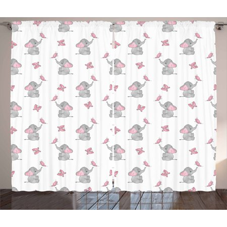 Elephant Nursery Curtains 2 Panels Set Baby Elephants Playing With Erflies Design Lovely Pattern