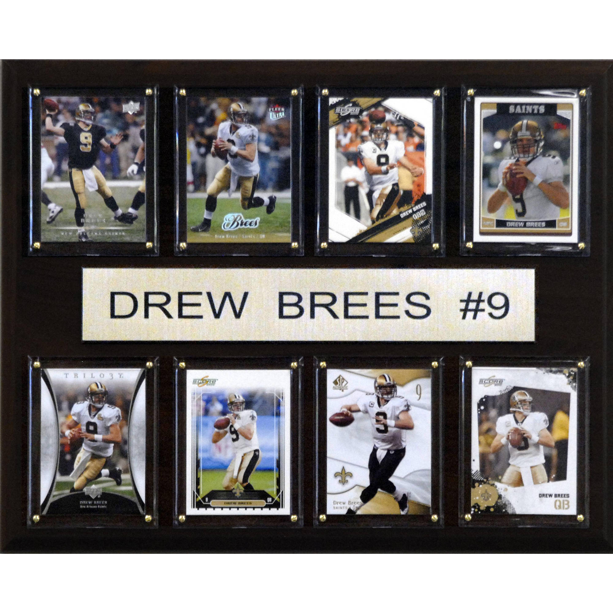 C&I Collectables NFL 12x15 Drew Brees New Orleans Saints 8-Card Plaque