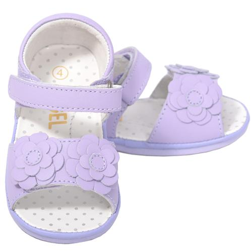 Cute Lilac Flower Strap Velcro Spring Sandals Baby Girls 1-Toddler 7