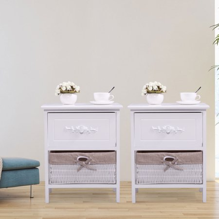 Jaxpety Set of 2 End Side Bedside Table Nightstand Organizer with Wicker Basket Storage Carved Drawer White ()