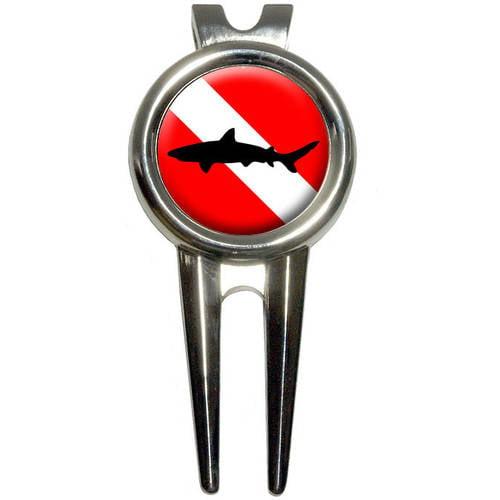 Diving Flag/Scuba Diver Dive/Shark Golf Divot Repair Tool and Ball Marker