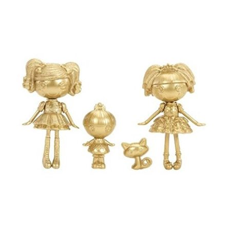 Lalaloopsy, Mini Lalaloopsy Exclusive Limited Gold Edition Set Spot Splatter Splash, Trinket, Sparkles, and Jewel - Gold Sparkle