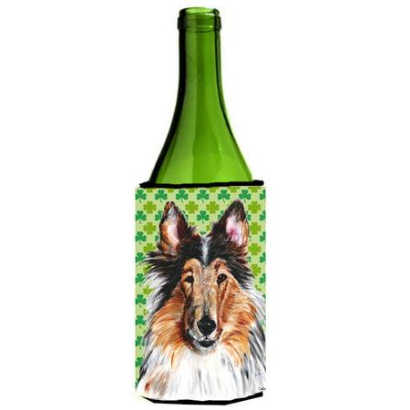 Collie Lucky Shamrock St. Patrick's Day Wine Bottle Beverage Insulator Hugger SC9718LITERK