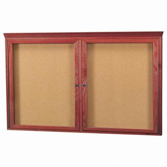 Aarco Products CBC3660RC Enclosed Bulletin Board with Cherry Frame and Crown Molding