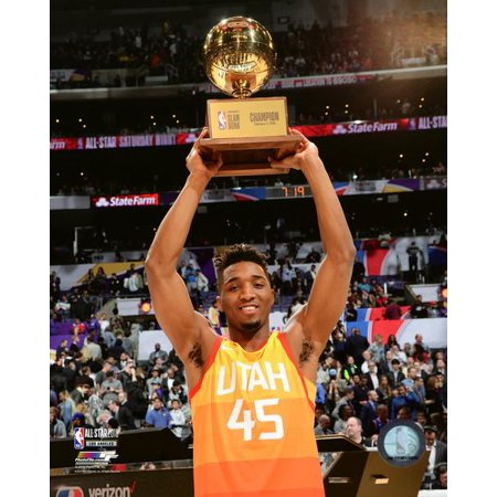 Donovan Mitchell with the Slam Dunk Contest Champion Trophy 2018 NBA All-Star Game Photo -