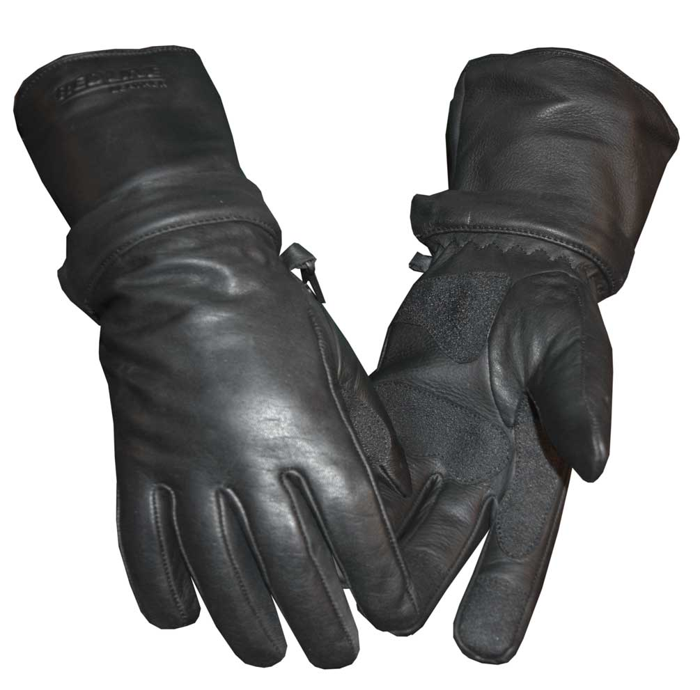 Redline Men's Zip-Off Cuff Full-Finger Fleece Lining Leather Gloves, Black G-054