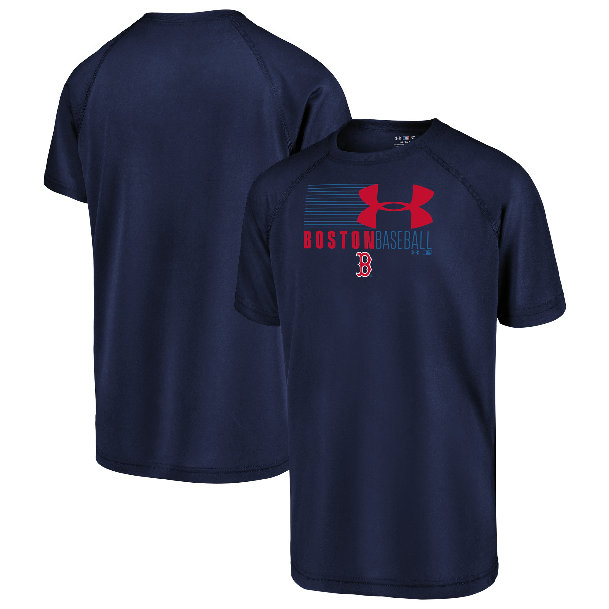 Boston Red Sox Under Armour Youth In Team Colors Synthetic Performance Raglan T-Shirt - Navy