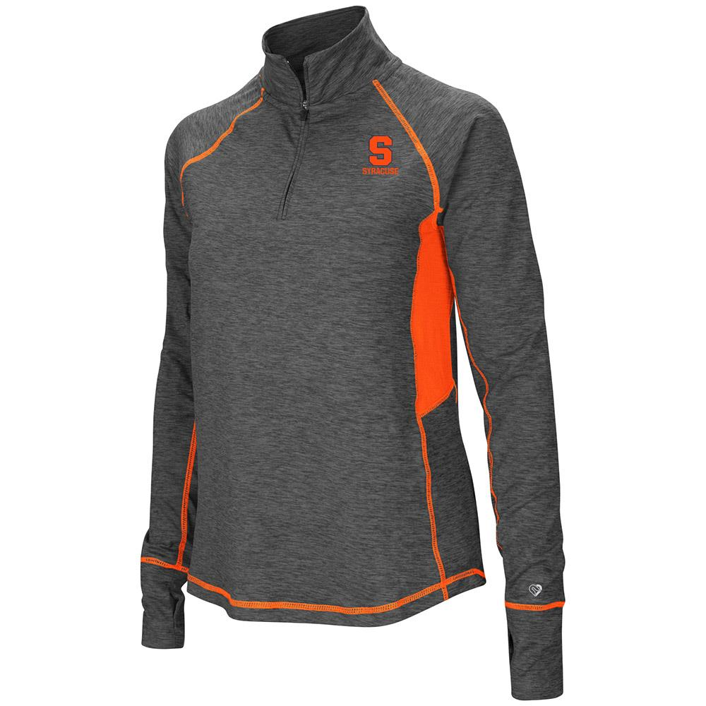Womens Syracuse Orange Quarter Zip Pull-over Long Sleeve Shirt