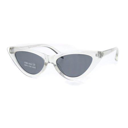 Girls Child Size Clear Frame Hippie Color Lens Cat Eye Retro Sunglasses Black