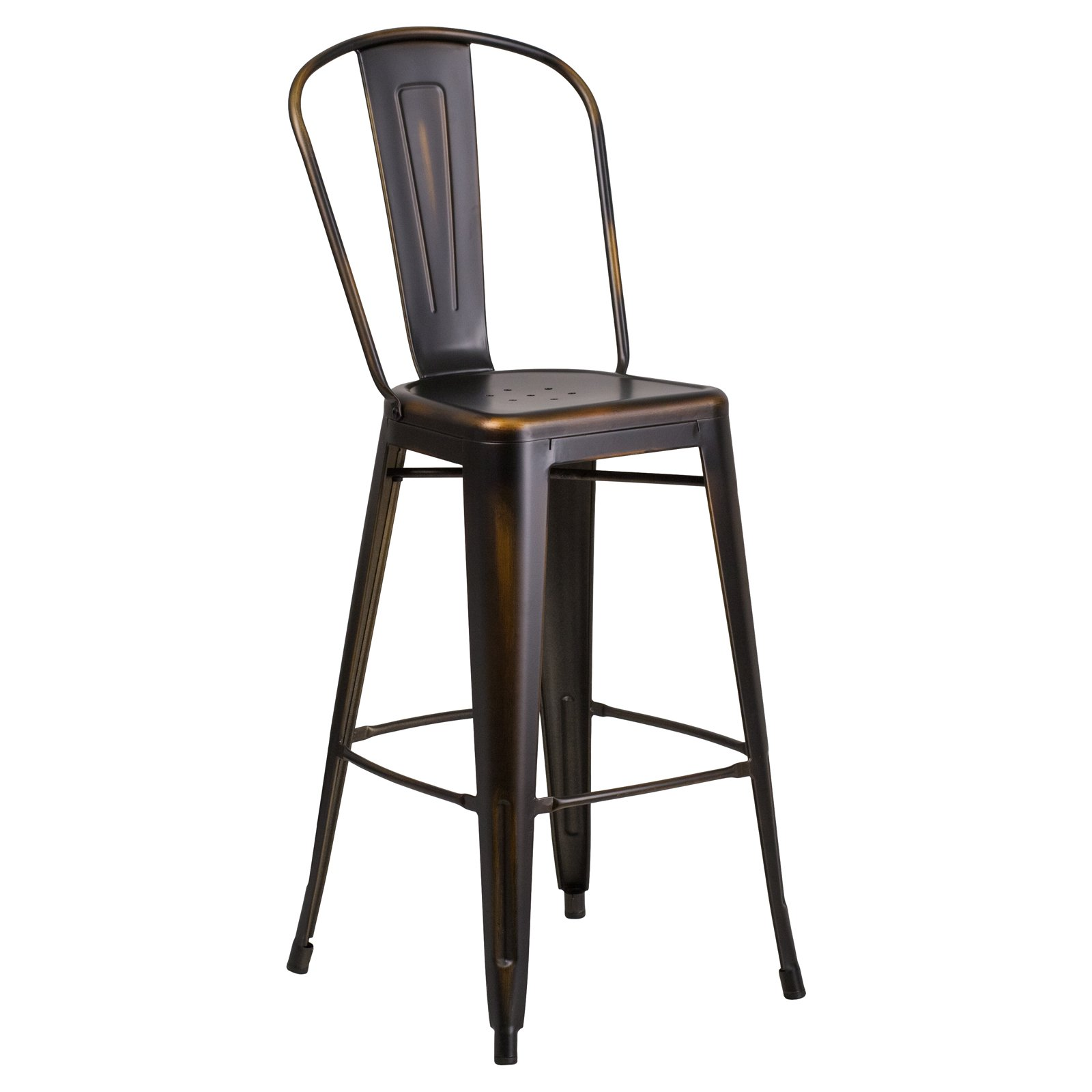 Flash Furniture 30'' High Distressed Copper Metal Indoor-Outdoor Barstool with Back