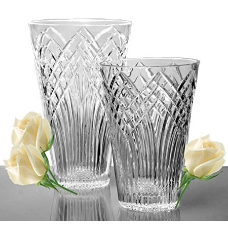 - GAC Mouth Blown High Class Glass Crystal Flower Vase, Exquisite Decorative Vase Centerpiece -8