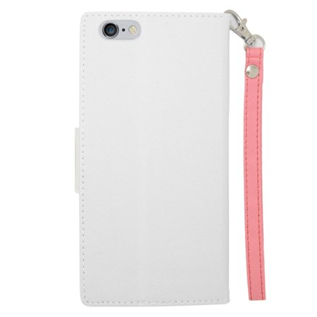 Insten Flip Wallet Leather Case with Card Slot & Lanyard For iPhone 6s Plus / 6 Plus - White/Pink - image 1 de 3