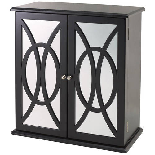 Mirror Doors With Circular Molding 3 Drawer Jewelry Box, Black
