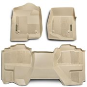 Goodyear 340023 Front Pair & Rear Over Hump Floor Liner - Tan, 2007-2014 Toyota Tundra Double Cab
