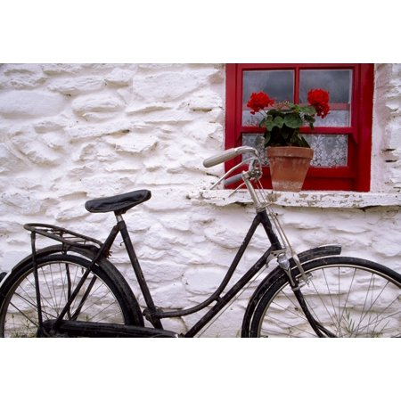 Park Cottages - Bunratty Folk Park County Clare Ireland Cottage Window And Bicycle Stretched Canvas - Richard Cummins  Design Pics (36 x 24)