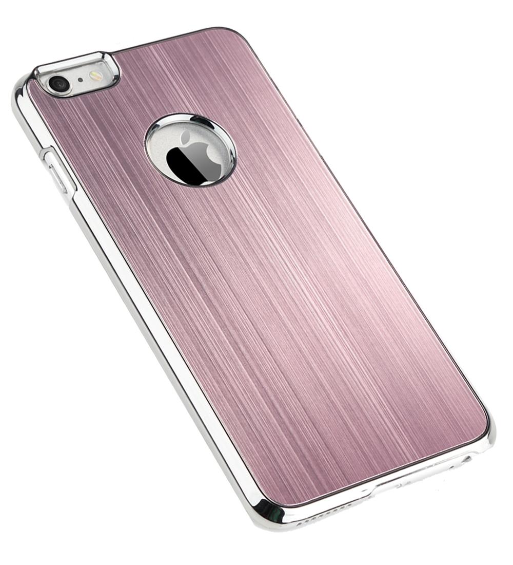ULAK Luxury Aluminum Coating Metal Slate Chrome Hard Case for Apple iPhone 6 Plus 5.5 inch / iPhone 6s Plus Case 5.5 inch-Pink