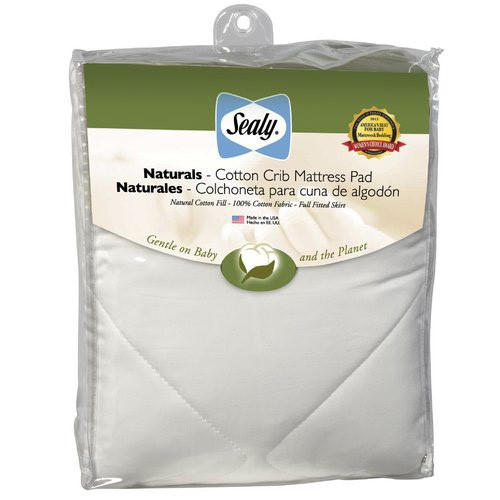 Sealy Quilted Naturals Cotton Crib and Toddler Mattress Pad