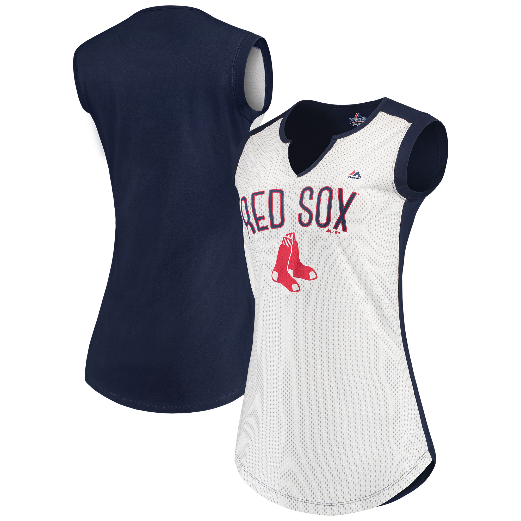 Boston Red Sox Majestic Women's Decisive Battle Muscle T-Shirt - White