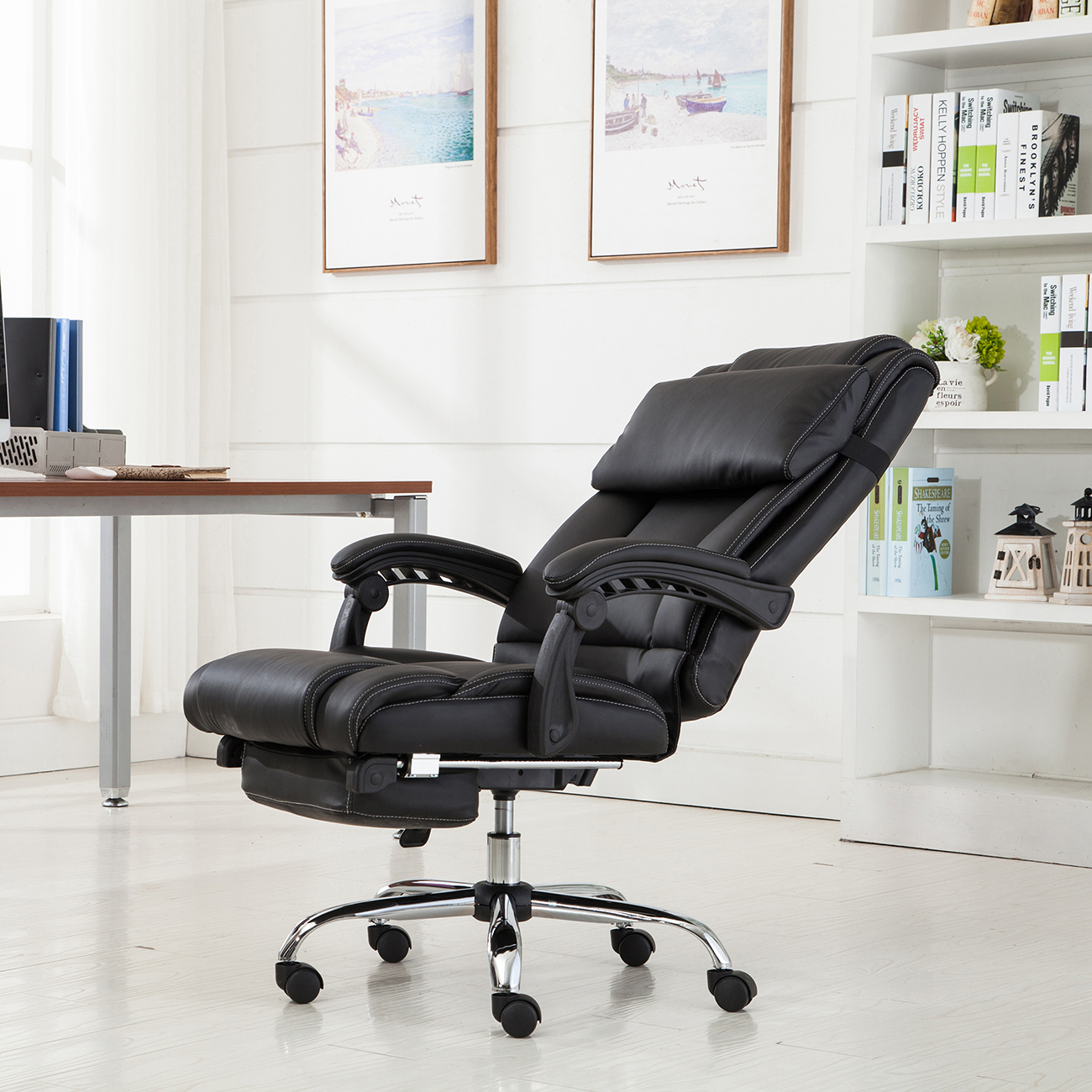 belleze executive reclining office chair high back w/ footrest
