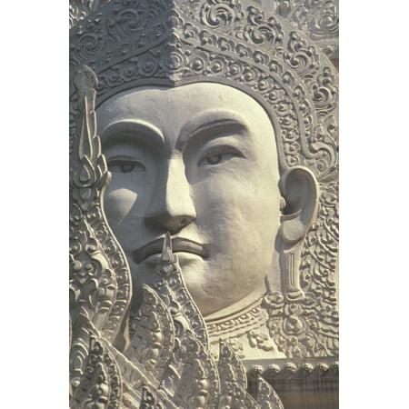 Thailand Bangkok Wat Rachapradit Closeup Of Stone Buddha Image Stretched Canvas - Bill Brennan  Design Pics (22 x
