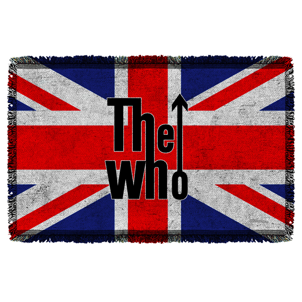 The Who Who Flag Woven Throw White 36X58 White 36X58
